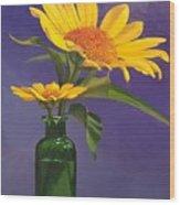 Sunflowers In A Green Bottle Wood Print