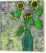 Sunflowers In A Green Vase Wood Print