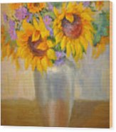 Sunflowers In A Silver Vase Wood Print