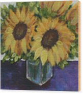 Sunflowers In A Square Vase Wood Print