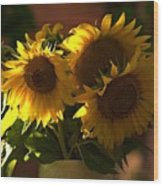 Sunflowers In A Vase Wood Print