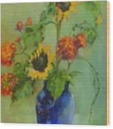 Sunflowers In Blue          Copyrighted Wood Print