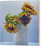 Sunflowers In Circle Vase Blue Tournesols Wood Print