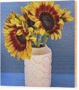 Sunflowers In Circle Vase Tournesols Wood Print