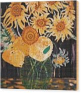 Sunflowers In Clear Vase Wood Print