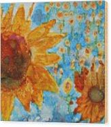 Sunflowers In Fields Wood Print