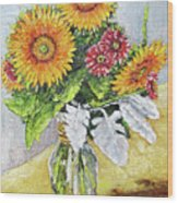 Sunflowers In Glass Vase Wood Print