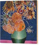 Sunflowers In Green Vase Wood Print