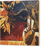 Sunflowers In Italian Vase Wood Print