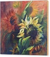Sunflowers In Red Wood Print