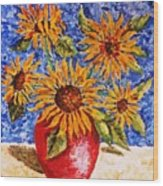 Sunflowers In Red Vase. Wood Print