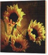 Sunflowers In Shadow Wood Print