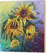 Sunflowers In The Rain Wood Print