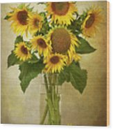 Sunflowers In Vase Wood Print by © Leslie Nicole Photographic Art