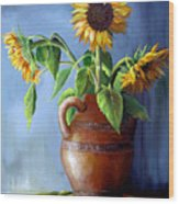 Sunflowers In Vase Wood Print