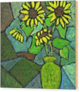 Sunflowers In Vase Green Wood Print