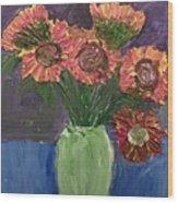 Sunflowers In Vase Wood Print