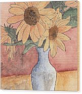 Sunflowers In Vase Sketch Wood Print