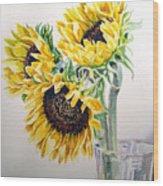 Sunflowers Wood Print by Irina Sztukowski