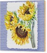 Sunflowers On Baby Blue Wood Print