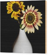 Sunflowers On Black Background And In White Vase Wood Print