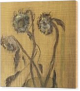 Sunflowers On Gold Wood Print