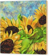 Sunflowers On Holiday Wood Print