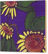 Sunflowers On Purple Wood Print