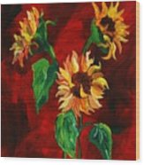 Sunflowers On Rojo Wood Print