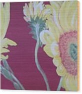 Sunflowers On The Run Wood Print