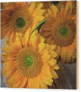Sunflowers On White Boards Wood Print