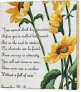 Sunflowers  Poem Wood Print