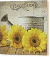 Sunflowers Postcard Wood Print
