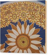 Sunflowers Rich In Blooming Wood Print