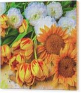 Sunflowers Tulips Wood Print