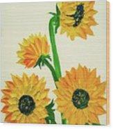 Sunflowers Using Palette Knife Wood Print