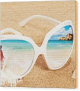 Sunglasses In The Sand Wood Print