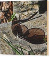 Sunglasses On Stone Wood Print