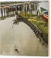 Sunken Fishing Boat Wood Print