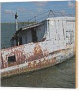 Sunken Shrimpboat Wood Print