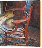 Sunlight On Leather Chair Wood Print