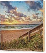 Sunlight On The Sand Wood Print by Debra and Dave Vanderlaan