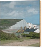 Sunlight On The Seven Sisters Wood Print
