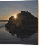 Sunlight Through The Rock Wood Print