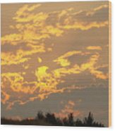 Sunlit Clouds Sunset Art Prints Gifts Orange Yellow Sunsets Baslee Troutman Wood Print