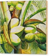 Sunlit Coconuts Wood Print