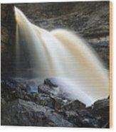 Sunlit Falls Wood Print