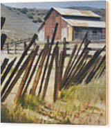 Sunlit Fence Wood Print