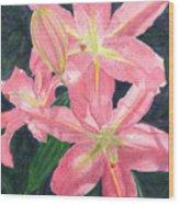 Sunlit Lilies Wood Print