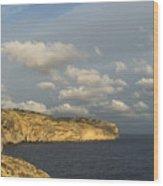 Sunlit Limestone Cliffs In Malta Wood Print